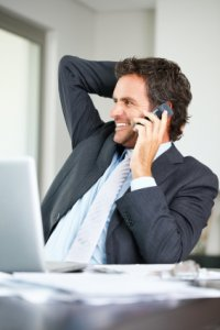 Man in business suit on the phone